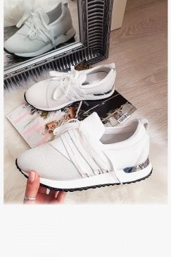 Białe Wsuwane Adidasy Modne Wiązanie  8185