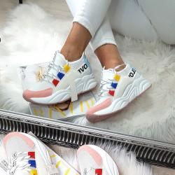 Białe Adidasy z Różowym Przodem 8432