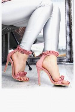Różowe Sandały Zamszowe z Falbanką 7338