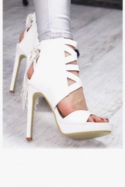Skórzane Białe Sandały na Szpilce 7421