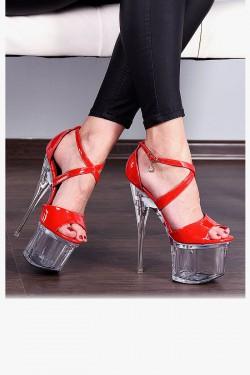 Sandały Czerwone Lakierowane Pole Dance 7939