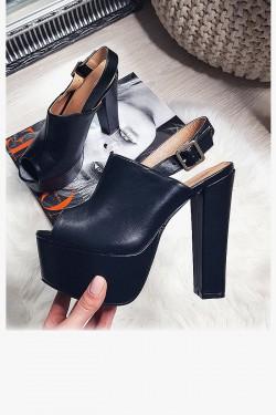 Sandały Zabudowane Czarne na Słupku Eko 8213