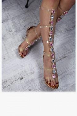 Szampańskie Sandały Biżuteryjne Gladiatorki 7222
