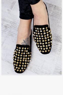 Czarne Loafersy w Złote Cyrkonie Lordsy 7245