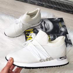 Wiązane Brokatowe Białe Adidasy 8385