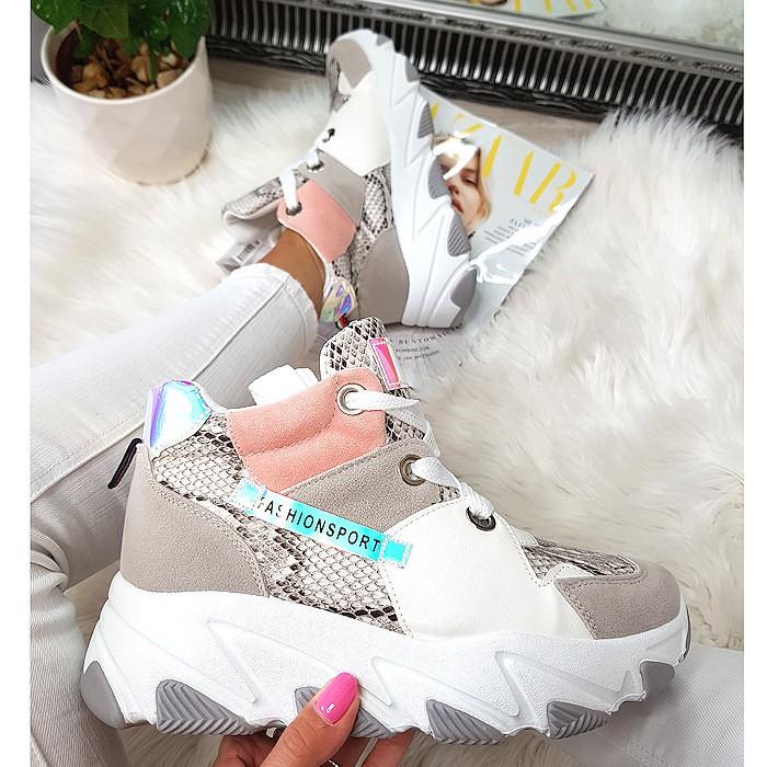 Kolorowe Adidasy Na Koturnie - Biały Waż 8444