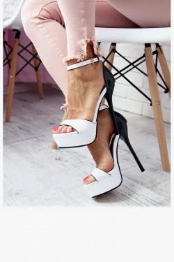 Sandały Biało-Czarne Lakierowane Smukła Szpilka