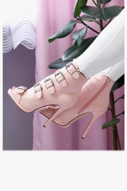 Botki ABBY Light Pink Peep Toe