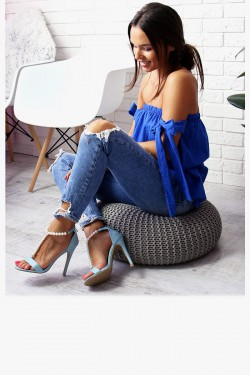 Sandały VANESSA Błękitne - Perełki