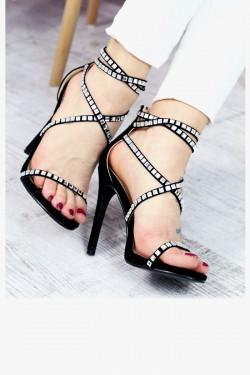 Czarne Sandały Srebrne Kamienie 7316