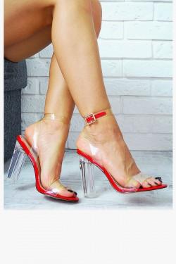 Czerwone Sandały Silikonowe Paski 7771