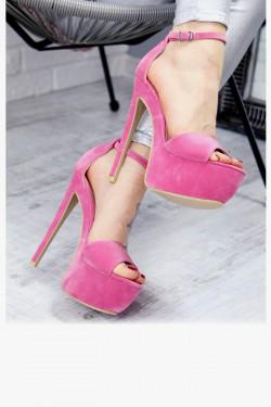 Różowe Zamszowe Sandały na Szpilce 7376