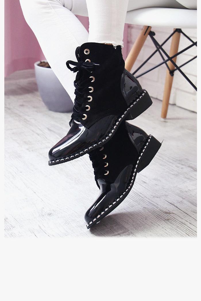 botki wiązane damskie czarne