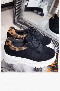Zamszowe Trampki Sneakersy Czarne Adidasy - Panterkowa Wstawka 8143