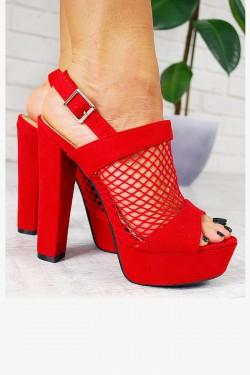 Sandały Czerwone Zamszowe z Siateczką 7760