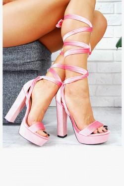 Wiązane Różowe Sandały Welur 7719