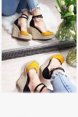 Zamszowe Sandały Żółto Czarne - Koturn 8256