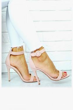 Kobiece Zamszowe Sandały Pastelowy Róż 7654