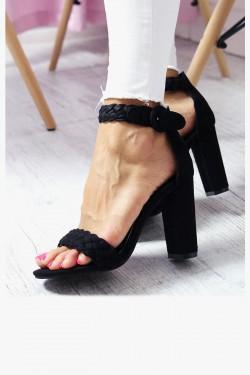 Sandały MIA Czarne na Słupku - Zamsz