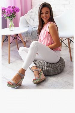 Sandały PAULA Szare Kolorowa Koturna