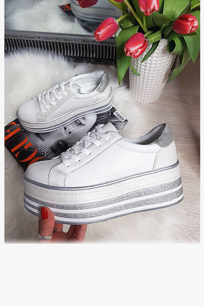 Trampki Sneakersy Białe Eko-Skóra Creepersy 8165