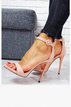 Zamszowe Klasyczne Różowe Sandały 7744