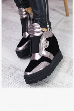 Zamszowe Czarne Sneakersy 7294