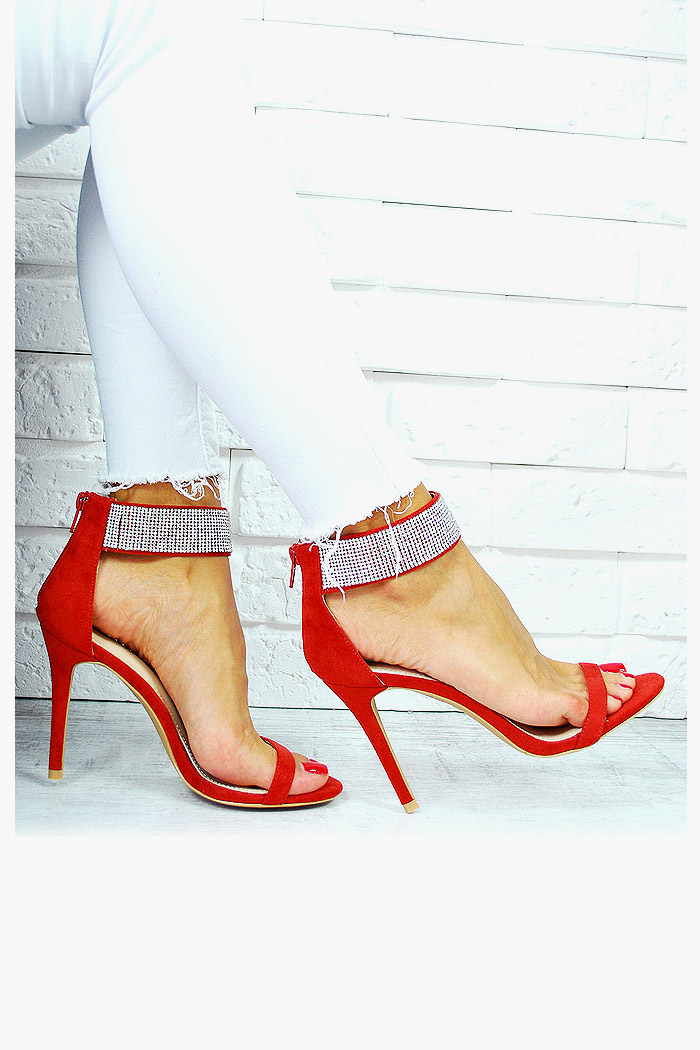 Sandały Zamszowe Czerwone Pasek w Cyrkonie 7676