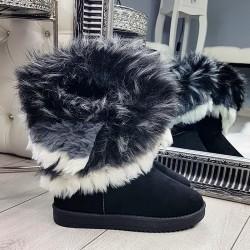 Zamszowe Czarne Kozaki Emu Futerko 9157