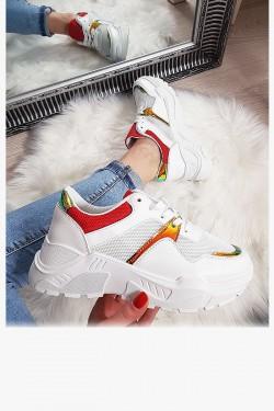 Trampki Białe Adidasy Czerwone Wstawki 8144