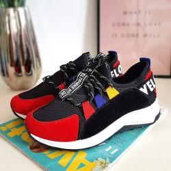 Czarne Adidasy Czerwono Białe Wstawki 8437