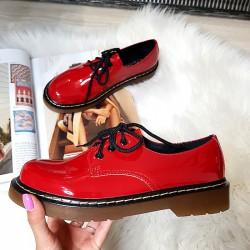 Krótkie Martensy w Czerwony Lakier 8425