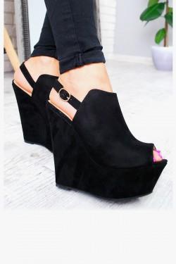 Czarne Zamszowe Sandały na Koturnie