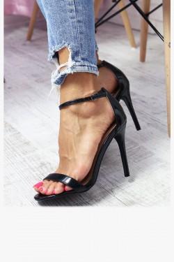 Sandały EMMA Czarne Lakierowane na Szpilce