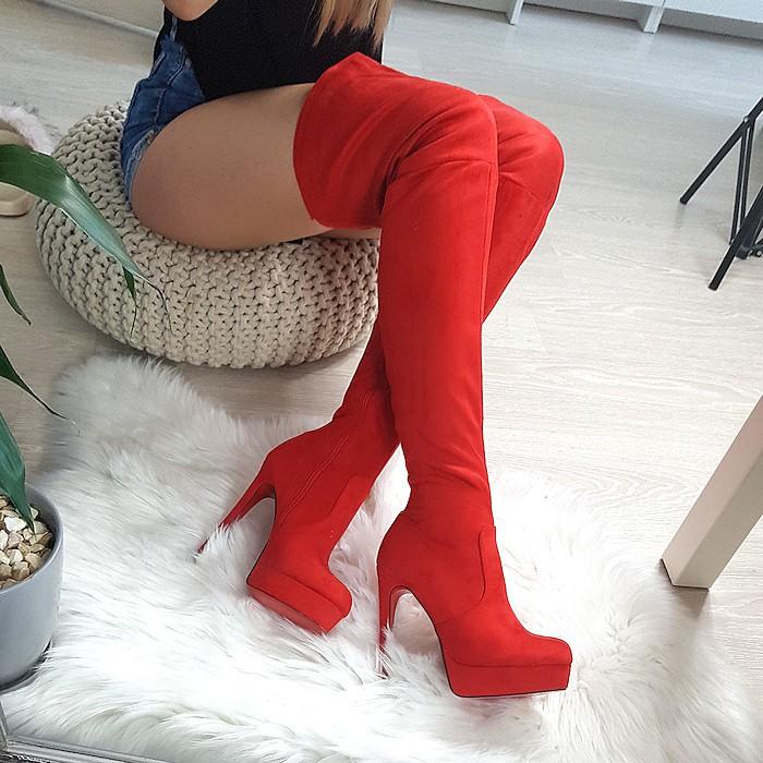 Muszkieterki Zamszowe Czerwone Klasyczne 8338