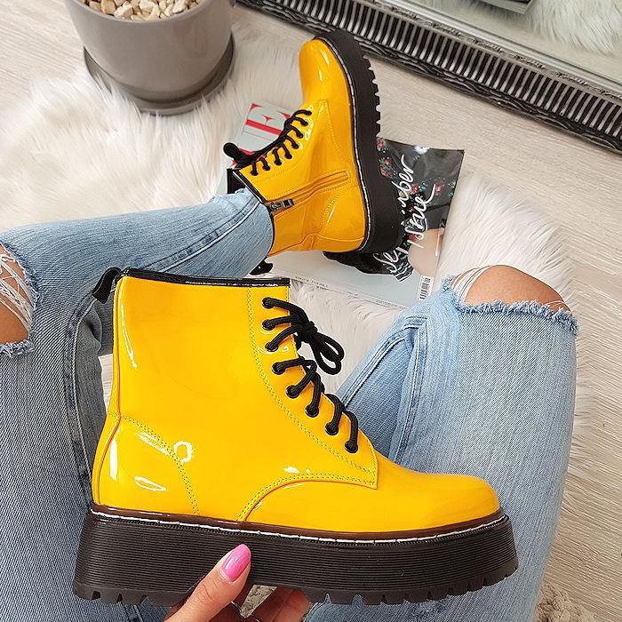 Wysokie Wiązane Żółte Martensy Lakier 8449