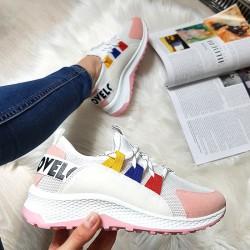 Biało Różowe Sznurowane Adidasy 8396