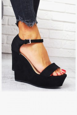 Klasyczne Czarne Sandały Zamszowe Koturny 7742