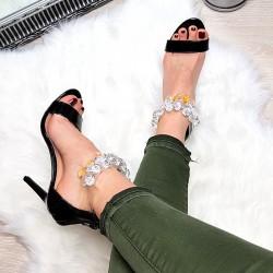 Czarne Sandały Silikonowy Pasek z Kryształkami 7740