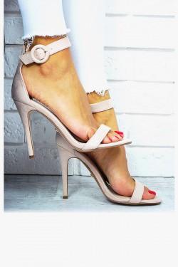 Kobiece Beżowe Sandały Zamsz 7662