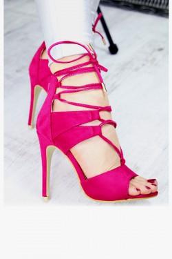 Zamszowe Różowe Sandały Wiązane na Kostce 7372
