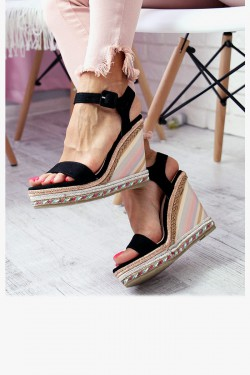 Sandały PAULA Czarne Kolorowa Koturna