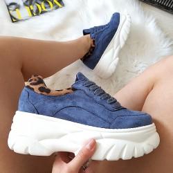 Zamszowe Trampki Sneakersy Niebieskie Adidasy - Panterkowa Wstawka 8393