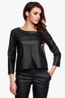 Elegancka bluzka z ekoskóry Caytlin Black