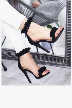 Czarne Sandały Zamszowe z Falbanką 7319