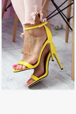 Sandały EMMA Żółte Lakierowane na Szpilce