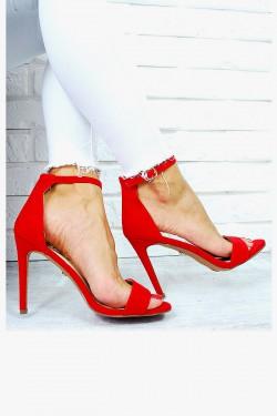 Delikatne Czerwone Sandały Klasyka 7661