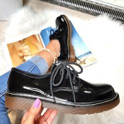 Krótkie Martensy w Czarny Lakier 8436