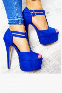 Zamszowe Kobaltowe Sandały Delikatne Paseczki 7584