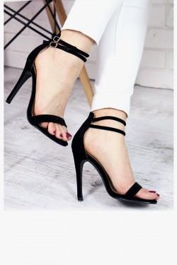 Sandały Czarne Zamszowe 7337